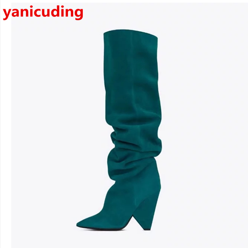 Pointed Toe Women Winter Long Booties High Heel Stylish Shoes Brand Super Star Runway Stage Shoes Knee Boots Chaussures Femmes yanicuding round toe women flock ankle booties metal short boots zip design luxury brand fashion runway star autumn shoes flats