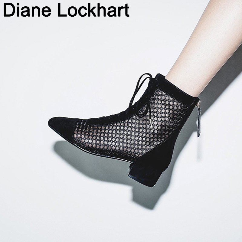 Women Summer Lace Up Round Toe 4CM Heel Ankle Boots 2019 Lady High Quality Fashion Gladiator