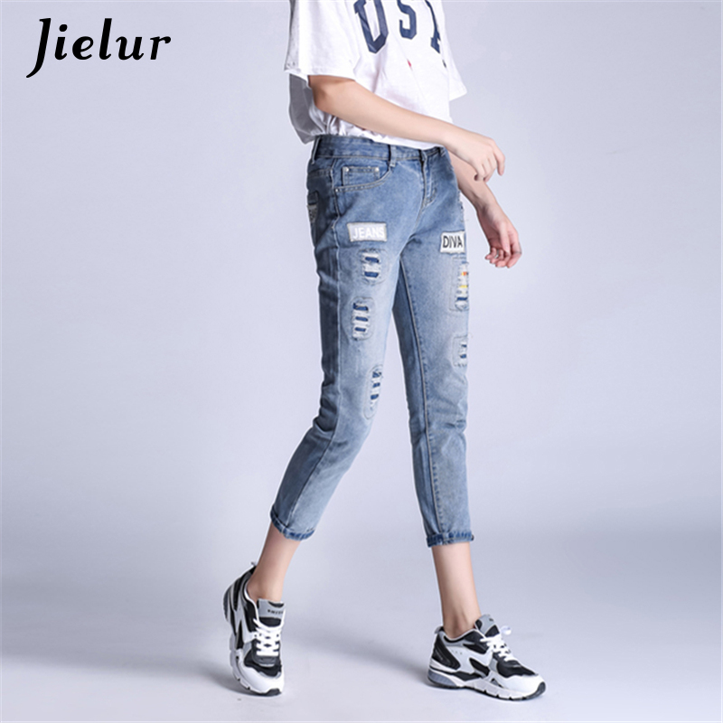 2018 Europe New Fashion Style Vintage Light Blue Jeans Woman S-5XL Painted Patchwork Skinny Pencil Pants Women Leisure Jeans