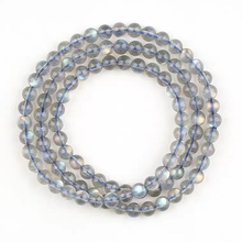 Genuine Natural Labradorite Crystal Rainbow Light Round Beads Bracelet Women 6mm 5mm Grey Moonstone Stone Necklace AAAAA