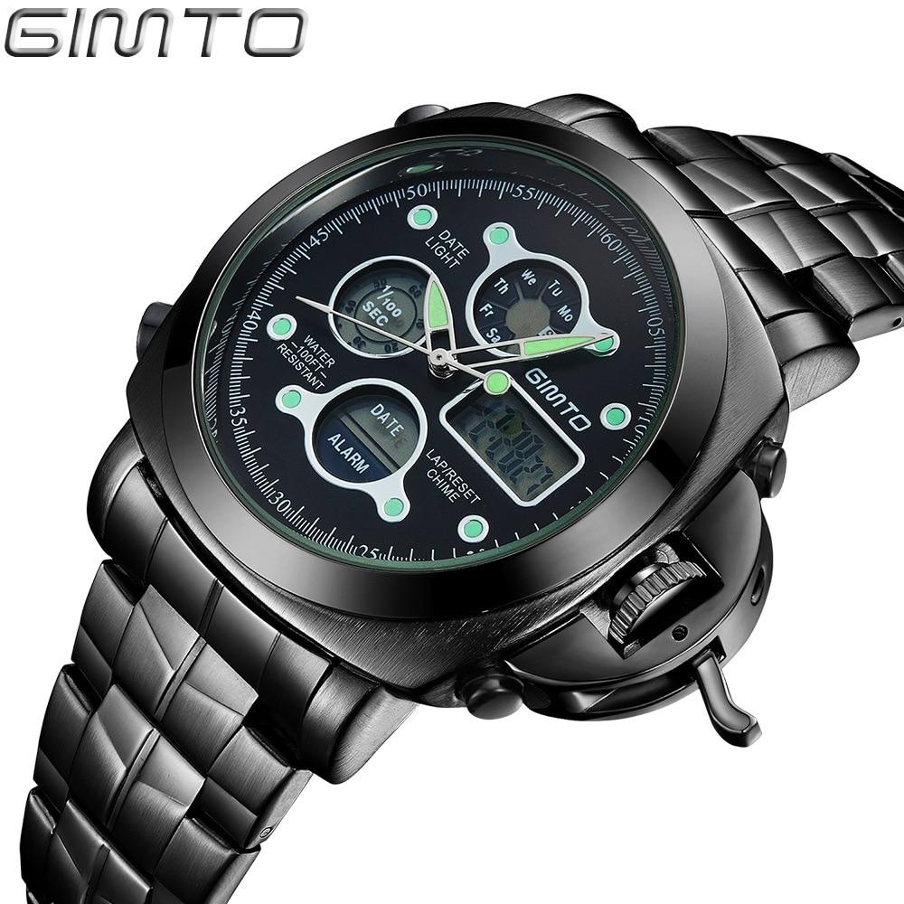 Luxury GIMTO Mens Watches Reloj Digital Quartz LED Analog Watches Stainless Steel Luminous Alarm Clock Men