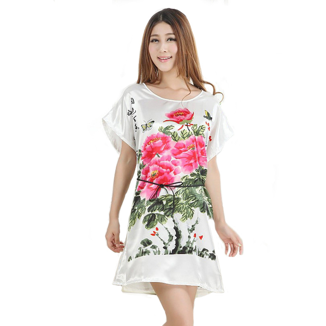 9f5f67ede New Summer Women Faux Silk Robe Gown Sexy Mini Nightdress Short Sleeve  Sleepwear Printed Sleepshirts Flowers