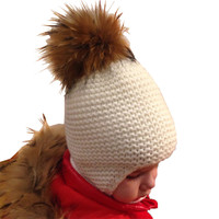 Baby Winter Hat With Raccoon Fur Ball Girl Cap Boy Cotton Hat Baby Ear Warm Cap