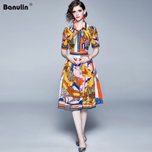 Banulin Designer Runway Summer Dress 2019 Vintage Stripe Printed Hit Color Short Sleeve Midi Party Dresses vestidos de verano