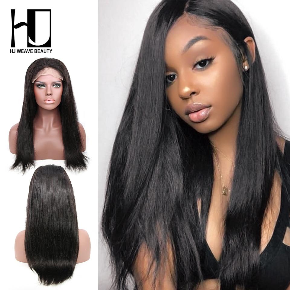 6x6 Lace Closure Wig Brazilian Virgin Hair Straight Swiss Lace Human Hair Wigs For Black Women Pre Plucked Wigs HJ WEAVE BEAUTY