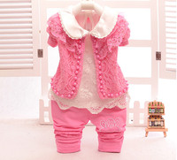 2017 Spring Baby Girl Clothing Sets 3 Pcs Lace Pearls Coat T Shirt Pants Children Princess