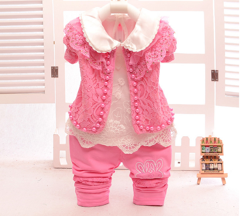 2017 Spring Baby Girl clothing Sets 3 pcs Lace Pearls Coat+T shirt+Pants Children Princess Kids Birthday Outfits Newborn Gifts