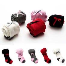 Колготки для новорожденных девочек детские чулки для малышей хлопковые теплые колготки с бантом, чулочно-носочные изделия, колготки для маленьких девочек от 0 до 24 месяцев