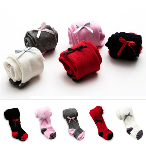 FM/_ Solid Color Baby Infant Kids Girls Warm Tights Stockings Pantyhose Bow  Deco