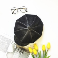 Lady Berets Hat For Winter Solid Cotton Hats With Lining 2017 New Top Quality Beret Octagonal