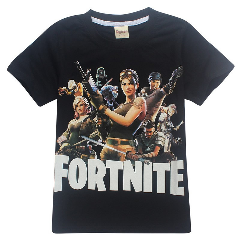 Pure Cotton 2018 Summer T Shirts Fortnite Legend Gaming Pattern Tops Baby Girls Boys T-shirt Gamer Kids Clothes 8 10 12 14 Years