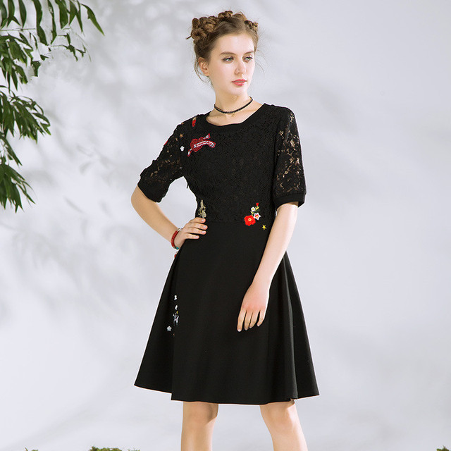 dfce18f98c87 2018 Lace Spliced Dress Women Black Red Midi Skater Dress with Funny  Embroidery Patch Robe Femme Party Dress Vestido
