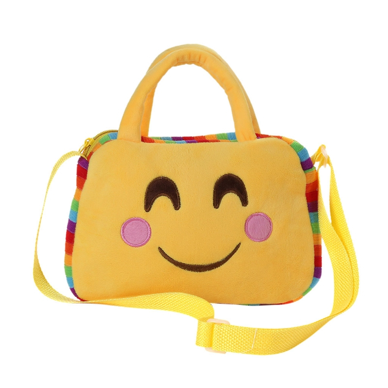 2017 Yellow Cute Fashion Emoji Face Expression Children Kid Shoulder School Bag Plush Toy Handbag Lovely 10 Patterns Brand New