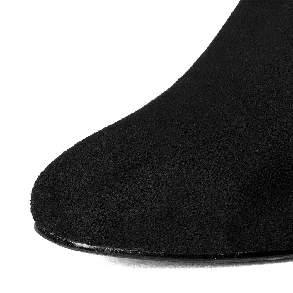 Mode Flock Shaft Chaussures Sur Fur D'hiver Shaft short Short Hiver long Slip Pointu Hautes Femmes Enmayla Bout Shaft Med Bottes Talons long Longues With Automne Fur wEYWx6qT