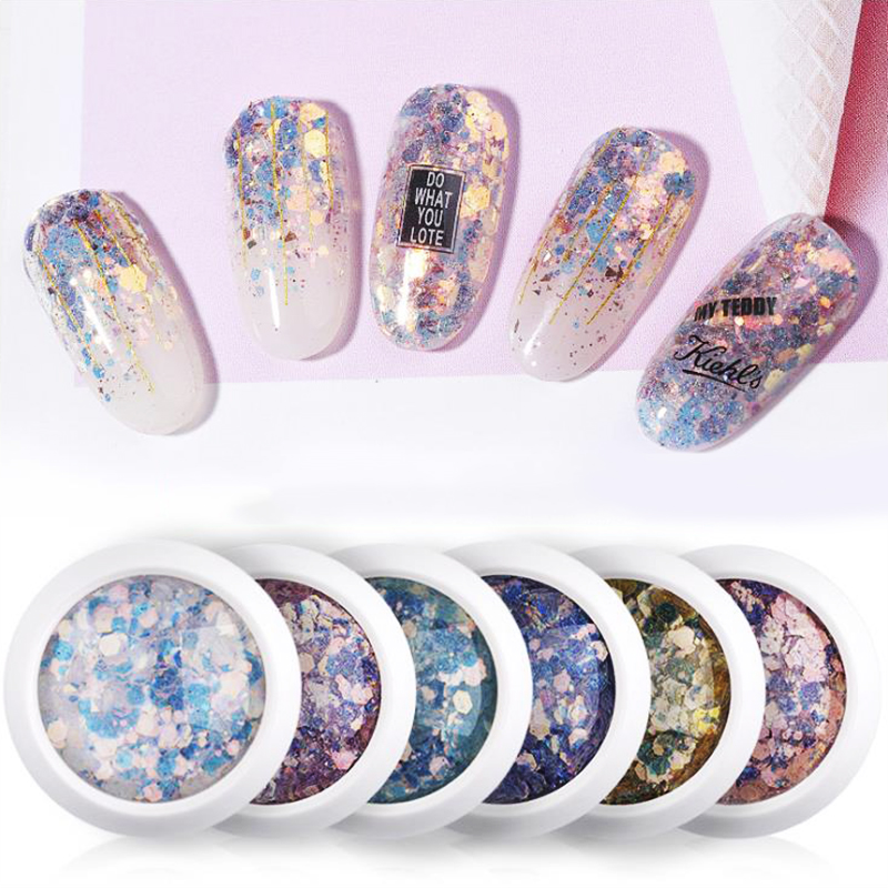 1g Nail Glitters Laser Hexagon Pigment With Bling Tiny Round Sequins Nail Art Decoration 8 Colors DIY Nail Art Powders Dust LDW in Nail Glitter from Beauty Health