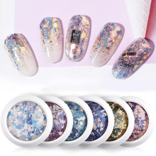 1g Nail Glitters Laser Hexagon Pigment With Bling Tiny Round Sequins Art Decoration 8 Colors DIY Powders Dust LDW