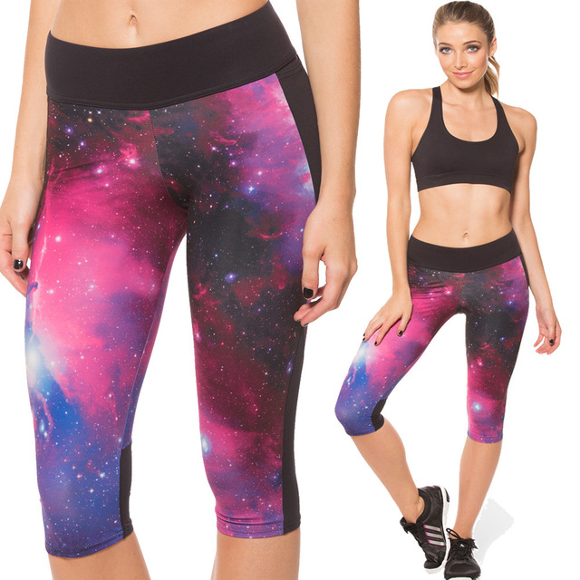 New Sexy calças de construção estrela moda leggins yuga butt lift 3D galáxia impressão secagem rápida calça apertada