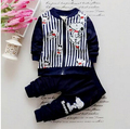 2016 spring new children's clothing boys cotton striped suit 1-2-3-4 year-old children suit cartoon zipper