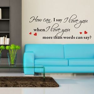 High Quality New How Can I Say I Love You No Words Quote Art Vinyl