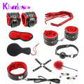 10 pcs/set Kit Fetish Sex Bondage Restraints Sex Toys for Couples Slave Handcuffs Fun Adult Games Nipple Clamps Ball Gag Whip