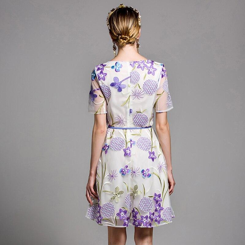 Blanc Manches ligne Robes Tunique Ceintures Courtes Dames À Megyn Floral Maille Brodé White Mini D'été Femmes A Par Robe Élégant Fwq4A