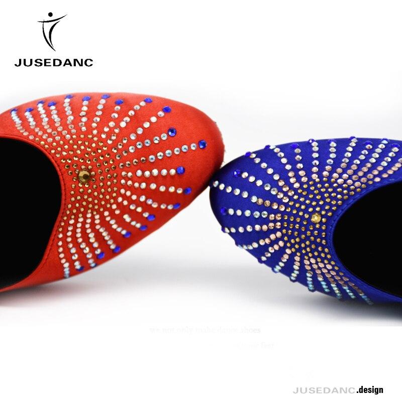 Salas chaussures satin chaussures de danse latine strass chaussures de danse de salon avec plate-forme bleu rouge haut talon cubain complet strass