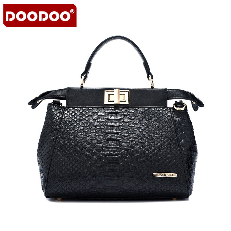 DOODOO Brand 2017 New Summer High Quality Leather Handbag Messenger Bag Shoulder Bag Casual Wild Snake