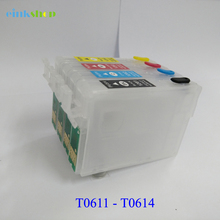 цены 1SET T0611 - T0614 refillable ink Cartridges t0611 for epson stylus D88 DX3800 D68 DX3850 DX4800 DX4850 printer ink