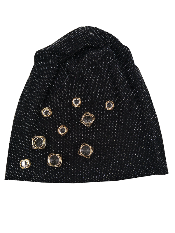 B17948 2017 new fashion shimmer crystal girls skuulcap fascinators metallic cube blingbling women hats beanie for