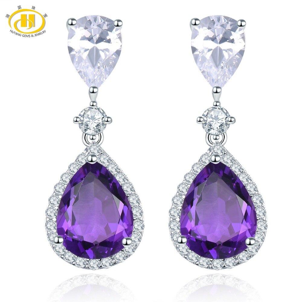 Hutang 9x7mm Amethyst Stud Earrings 925 Sterling Silver Natural Gemstone Fine Elegant Jewelry for Women Girl