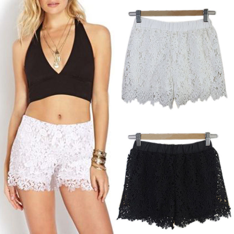 New Fashion Women Lace Crochet Tiered Short Pants Summer Lady Solid