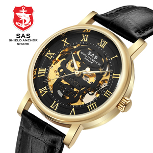 Image 4 - SAS Üst Marka Lüks Erkek mekanik saatler Deri Kayış Erkekler İskelet kol saati Saat relogio masculino