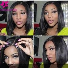 7A Grade Brazilian Glueless Full Lace Human Hair Short Wigs For Black Women Brazilian Human Hair bob Lace Front Wig with bangs