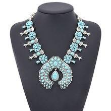 Горячая Распродажа винтажное ожерелье с цветным камнем и цветком