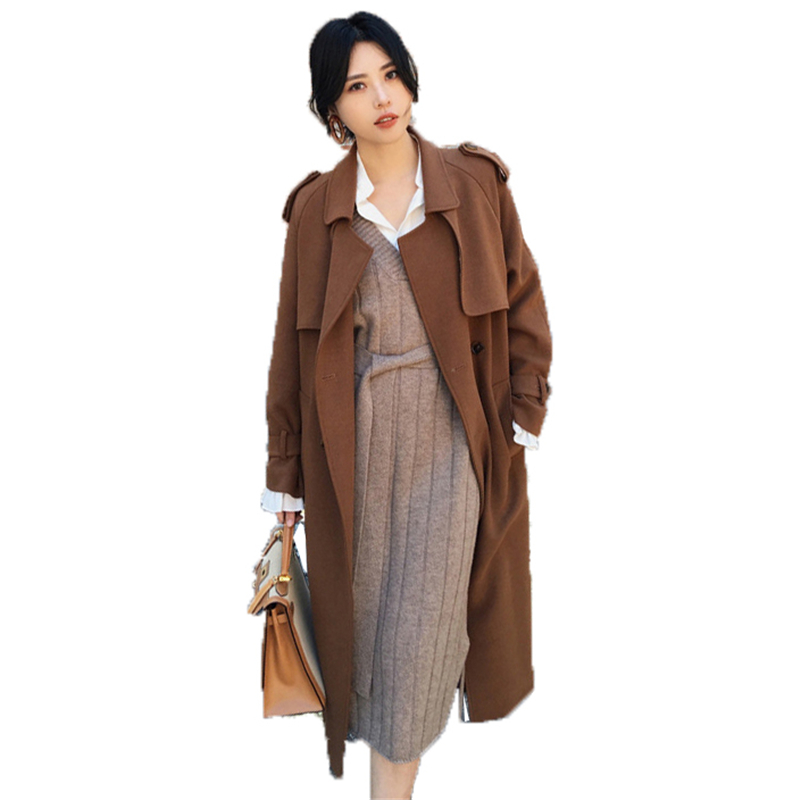 2018 New Vintage Women Coat Spring Autumn Clothing Windbreaker Ladies Slim Office Lady Coat Long   Trench   Coat Big Size O209