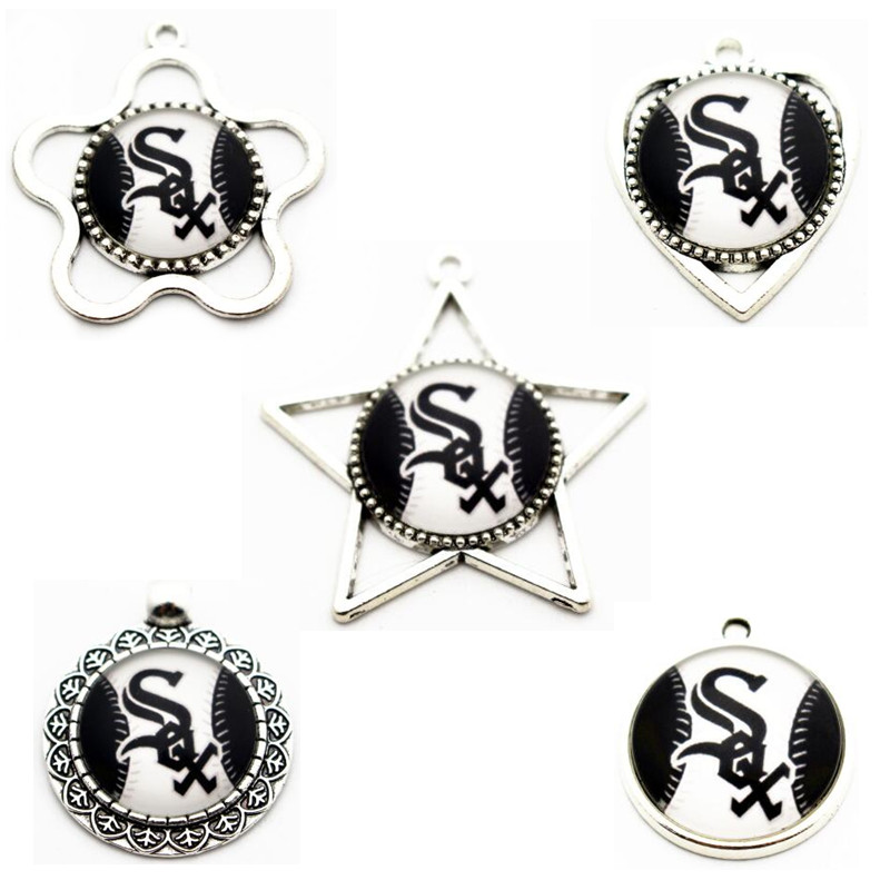 Mixs 10pcs/lot 5 Styles Metal Baseball Team Chicago White Sox Glass Dangle Charms For Pendant Necklace DIY Jewelry
