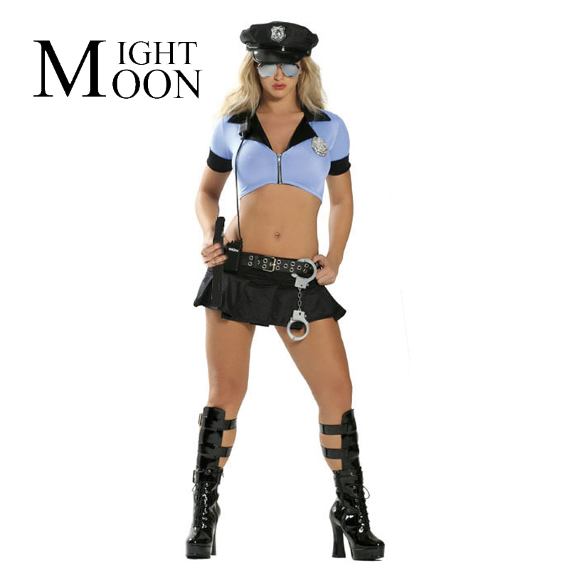 MOONIGHT 2019 New Women Sexy Blue Halloween Party Police Uniform Costumes Outfit Fancy Cosplay Top+Skirt With Hat
