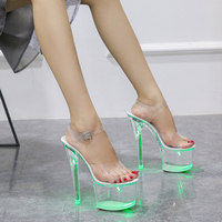 Large Size Sandals Clear Heel Light emitting PVC Platform Buckle Strap Super High Heels Thin Heel Solid Women's Shoes 2019 New
