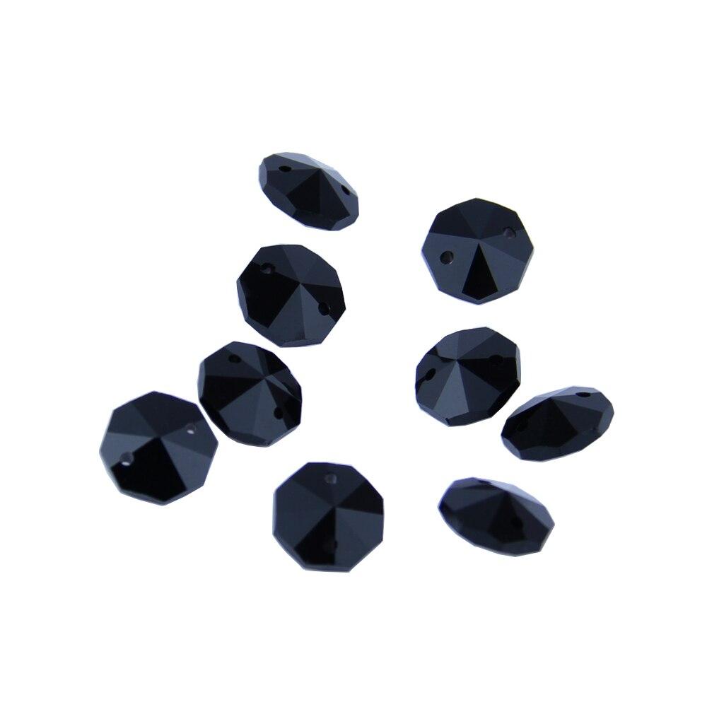 50pcs 14 mm 2 trous Octogone Verre Cristal Prism Décoration Perles Lots Rouge