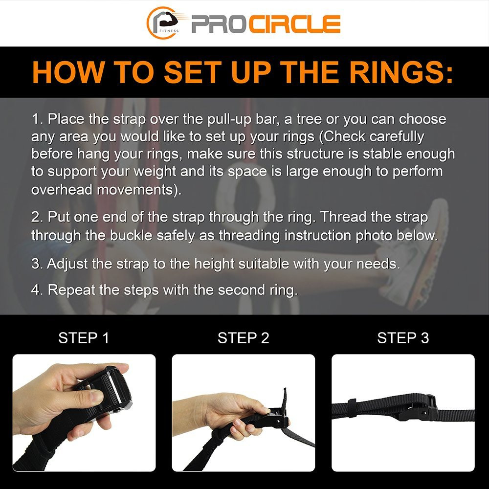 Anneaux de gymnastique en bois Procircle anneaux de gymnastique 28/32mm avec longues boucles réglables sangles d'entraînement pour la gymnastique à domicile et la remise en forme croisée - 5