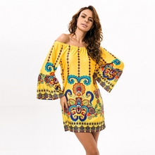 HAOYUAN Off Shoulder Women Summer Beach Indian Dress Boho Sexy Bohemian Vintage Dresses Sundress Vestidos Robe