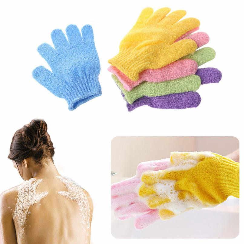 1 par de guantes de ducha exfoliantes para lavar la piel Spa guantes de baño espuma antideslizante para baño T730