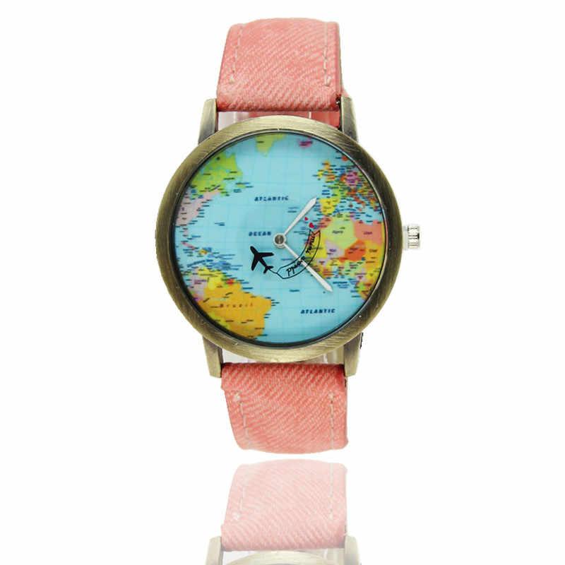 Năm 2018 Thời Trang Mới Sáng Tạo Toàn Cầu Đi Du Lịch Bằng Máy Bay Đồ Nữ Đồng Hồ Nữ Đầm Hàng Ngày Vải Denim Dây reloj mujer f70