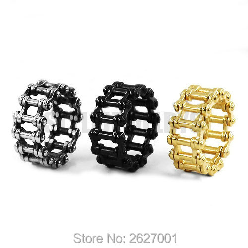 Wholesale Motorcycle Chain font b Ring b font Stainless Steel Jewelry Punk Silver font b Black