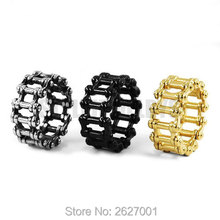 Wholesale Motorcycle Chain Ring Stainless Steel Jewelry Punk Silver Black Gold Bicycle Chain Ring Motor Biker Men Ring SWR0635