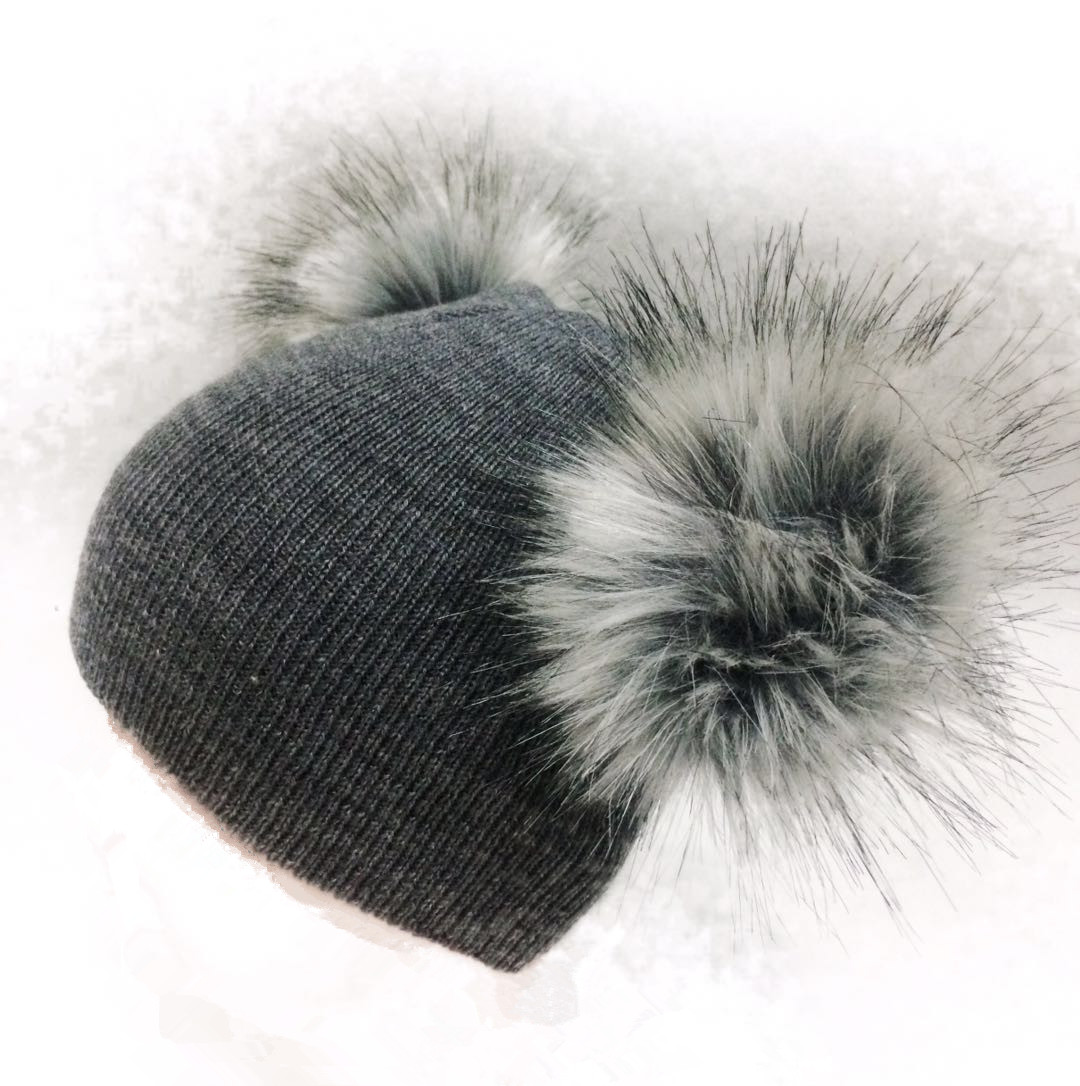 children's winter infant newborn baby kids faux fur wool hat cap beanie with 2 two double pom pom beanie for boys and girl 0-3 Y winter kids fur hat natural knitted mink fur hat with fox fur pom pom ball cap baby girl boys hat