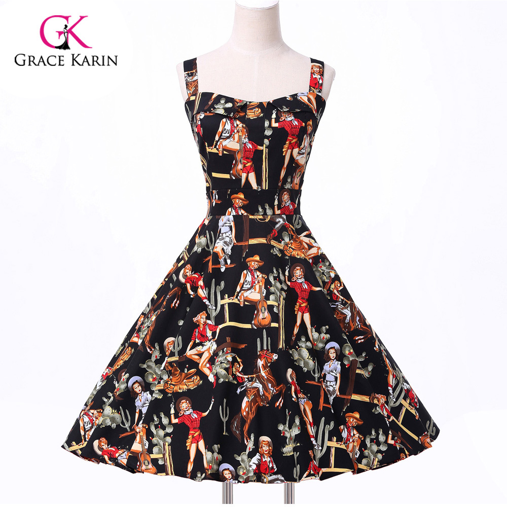 ee51c83feb179 US $36.26 |2018 Ladies 50s Rockabilly Retro Swing pinup Cocktail dress  Womens Summer Style robe Vintage plus size Party Dresses Vestidos -in  Cocktail ...