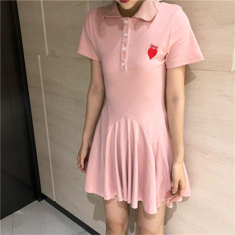 Girls Tennis Sports Dress Temperament Slim Long Dress Outdoor Sports Summer Red Love Sign Cute Short Tennis Dress One-piece