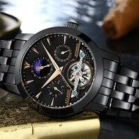Clássico Homens Completa Aço Tourbillon Relógios Auto liquidação Relógio de Fase Da Lua relógio de Pulso Multi funcional Oco Calendário Relogios Relógios mecânicos     -