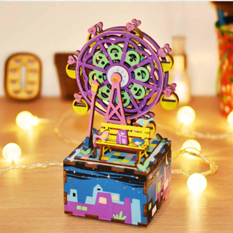 Robotime 뮤직 박스 DIY 3D 나무 퍼즐 뮤지컬 완구 조립 모델 빌딩 키트 어린이를위한 장난감 어린이 성인 생일 선물